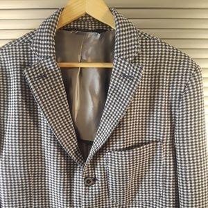 Zara Men's Denim Couture Checkered Blue Blazer XL